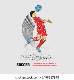 Soccer player hit the ball by head. Vector outline of Soccer player with scribble doodles.