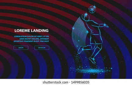 Soccer player hit the ball by head. Vector Sport Background for Landing Page Template.