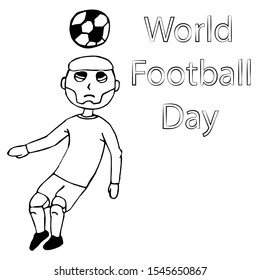 soccer player hits the ball with his head. world football day. isolated outline stock vector illustration