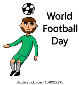 soccer player hits the ball with his head. world football day. isolated stock vector illustration