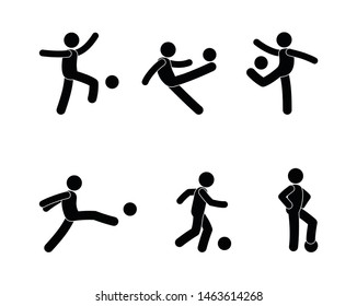 soccer player icon set, pictogram man with ball, stick figure human silhouette