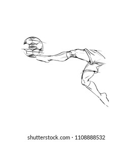 Soccer player in a jump, kicks the ball scoring a goal. Hand drawn Sketch of male athletic Legs in motion for Logo sports event, championship and team games icon. Part of man in comic style, vector
