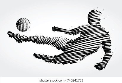 Soccer player jumping to kick the ball made of black brushstrokes