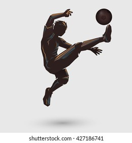 soccer player jumping kick retro color design