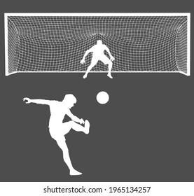 Soccer player kick ball, takes the penalty against goalkeeper vector silhouette isolated on background. Goal net construction. Football goal keeper against shot. Defender sportsman keep goal.