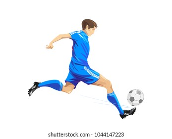 Soccer player, kicking the ball, blue team football player playing match. Vector illustration.
