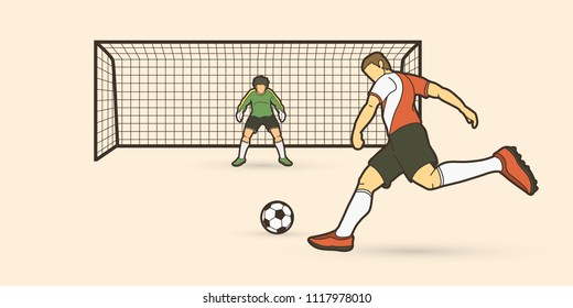 Soccer player kicking ball with Goalkeeper standing action graphic vector.
