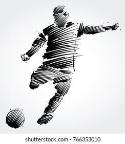 soccer player kicking the ball made of black brushstrokes on light background