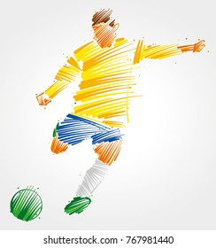 soccer player kicking the ball made of colorful brushstrokes on light background