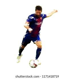 Soccer player kicking ball, polygonal vector illustration. Front view. Footballer
