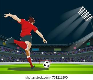 Soccer Player Kicking Ball in stadium. Light, stands, fans. Vector Illustration