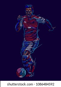 Soccer player kicking ball. Vector illustration  EPS 10 format.