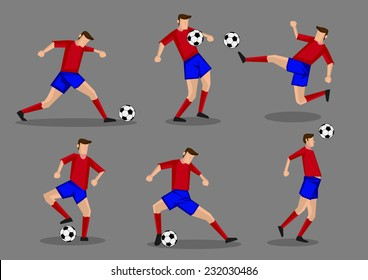 Soccer player kicking, passing, heading and shooting soccer ball poses. Six vector characters isolated on grey background.