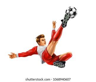 Soccer player kicks the ball