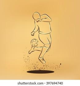 Soccer player makes a feint. Vector retro drawing illustration.