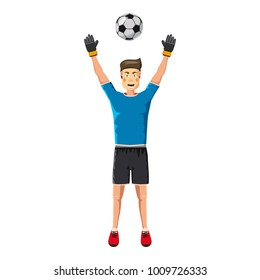 Soccer player man icon. Cartoon illustration of soccer player man vector icon for web