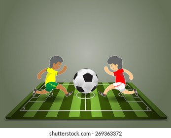 soccer player in match, cartoon vector design