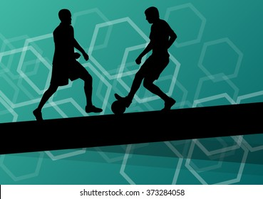 Soccer player men silhouettes with ball in active and healthy abstract background sport illustration vector