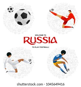Soccer player on gray official background FIFA world cup 2018. Welcome to Russia. Football player in Russia 2018. Full color vector illustration in flat style.