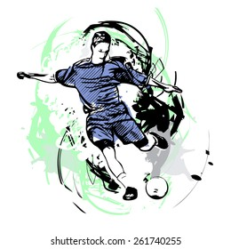 soccer player on watercolor background