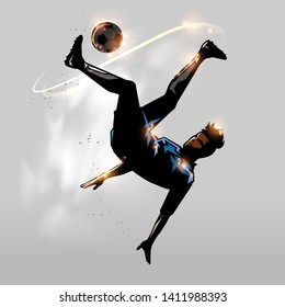 soccer player over head kick in the air design