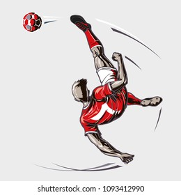 Soccer player overhead kick