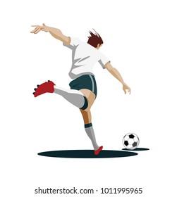 Soccer Player playing, running and kicking Ball. Vector Illustration