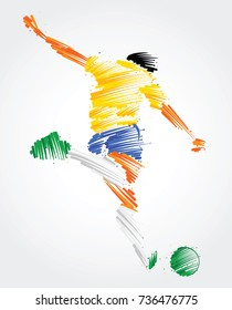 Soccer player ready to kick the ball