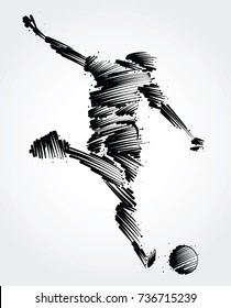Soccer player ready to kick the ball made of black brushstrokes