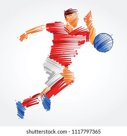 Soccer player running behind the ball made of colorful brushstrokes