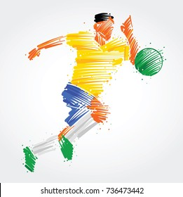 Soccer player running behind the ball