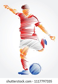 Soccer player running to kick the ball made of colorful brushstrokes on light background