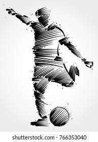 soccer player running to kick the ball made of black brushstrokes on light background