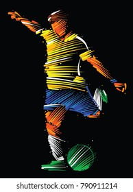 soccer player running to kick the ball made of colorful brushstrokes on dark background