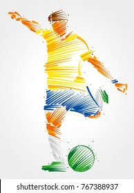 soccer player running to kick the ballmade of colorful brushstrokeson light background