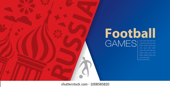 Soccer player and Russian Symbols pattern on Russia flag colors background. Vector design can be used in advertising, cover design, book design, poster, flyer, website backgrounds.
