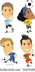 soccer player set cartoon vector illustrations