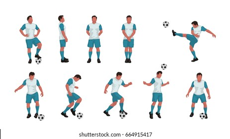 soccer player set colored