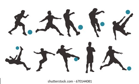 soccer player set silhouette