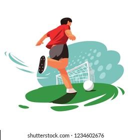Soccer player shoots at goal. Vector cartoon style illustration