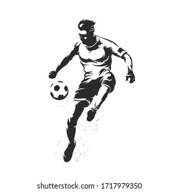 Soccer player silhouette with ball design on white background