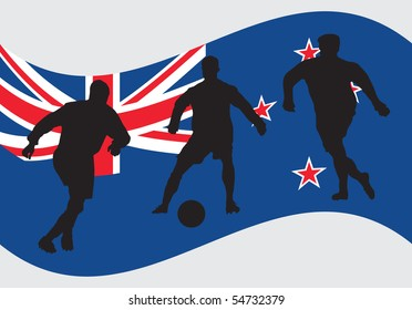 Soccer player silhouettes in front of New Zeeland flag