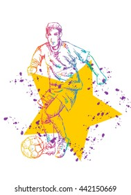 Soccer player. sketchy style.