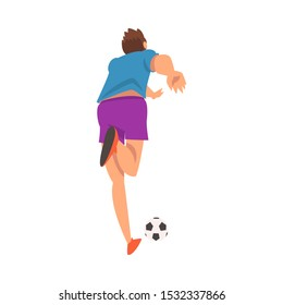 Soccer Player in Sports Uniform Kicking the Ball, View from Behind, Professional Athlete Character in Action Vector Illustration