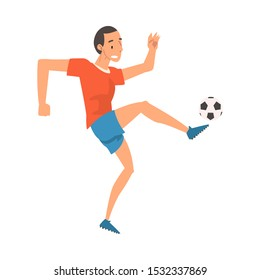 Soccer Player in Sports Uniform Kicking the Ball, Professional Athlete Character in Action Vector Illustration