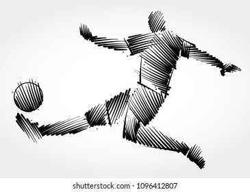 Soccer player stretching the body to dominate the ball made of black brushstrokes on light background