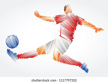 soccer player stretching the body to dominate the ball made of colorful brushstrokes on light background