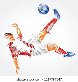 Soccer player stretching to dominate a ball made of colorful brushstrokes on light background