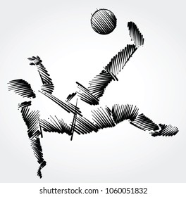 Soccer player stretching to dominate a balll made of black brushstrokes on light background