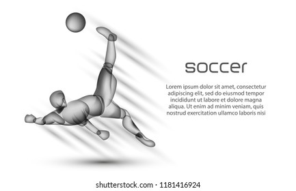 Soccer player striker hits the ball with an acrobatic bicycle kick. Football banner with a transparent black silhouette of a soccer player on a white background.